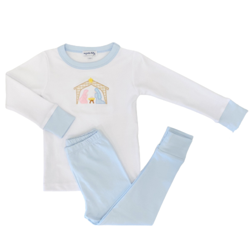 Magnolia Baby Magnolia Baby Away In The Manger Blue Long Pajama
