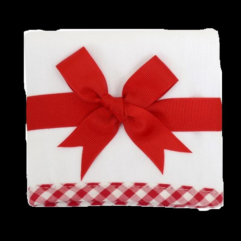 3 Marthas 3 Marthas Red Check Trimmed Burp Cloth