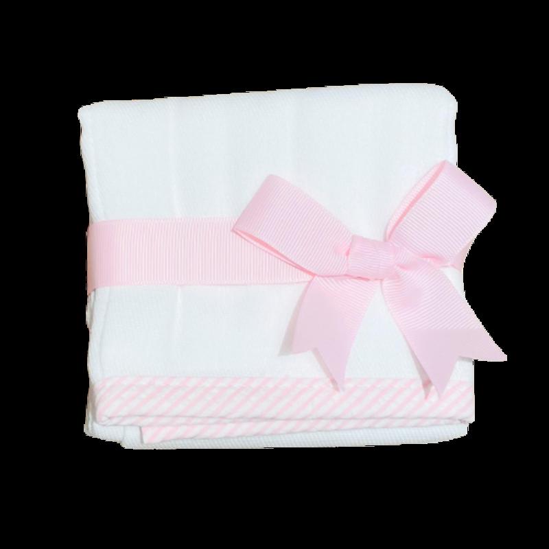 3 Marthas 3 Marthas Pink Seersucker Stripe Trimmed Burp Cloth