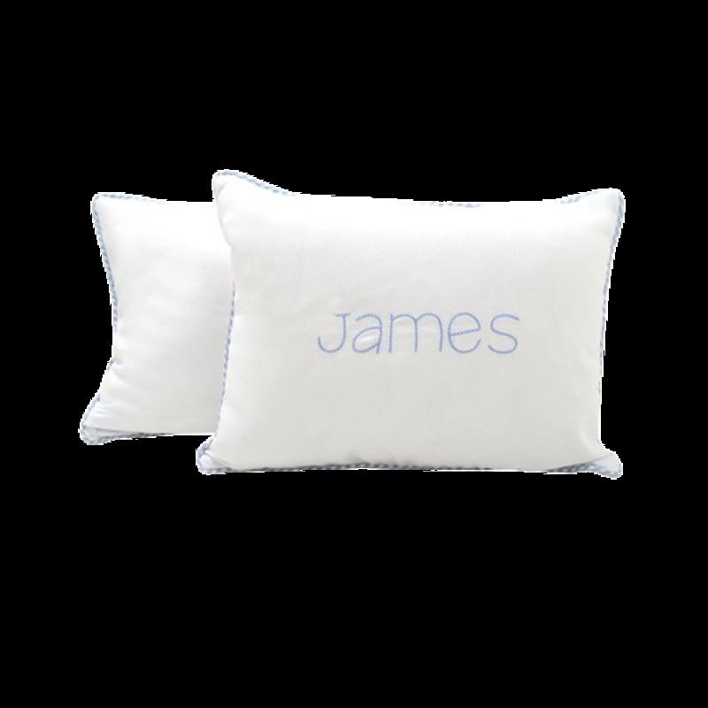 3 Marthas 3 Marthas Blue Check Baby Pillow
