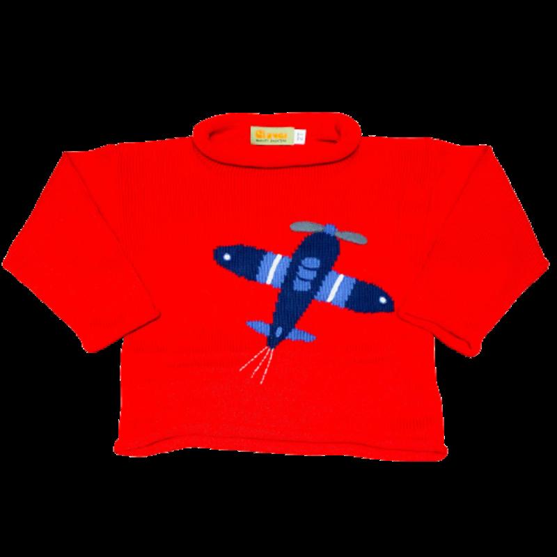 Luigi Luigi Red Rolled Neck Airplane Climbing Sweater