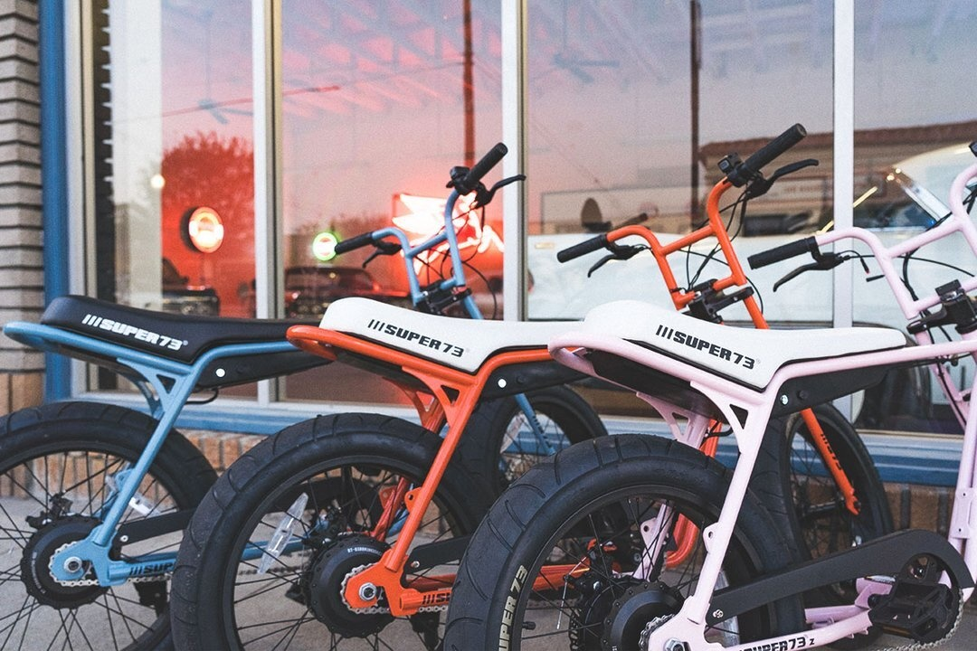 Line up of super73 electric bikes