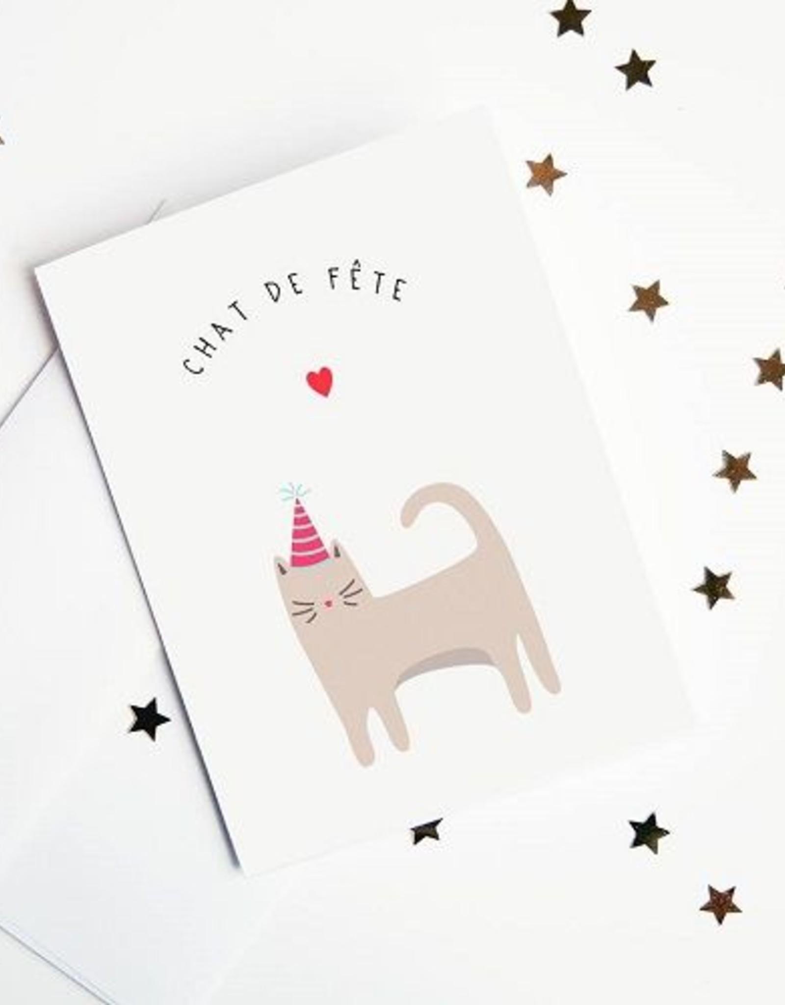 Article 721 Carte de voeux chat en fête