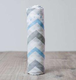 Lulujo Doudou mousseline bambou chevron bleu