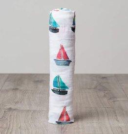 Lulujo Doudou mousseline coton sailboat watercolor
