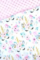 Oops Doudou étiquette en minky Licorne pastel