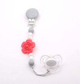 Bulle Bijouterie pour mamans Attache-suce Fleur Corail, perle, blanc et gris pâle