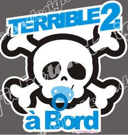 Affiche ton Design Autocollant Terrible 2 à bord bleu