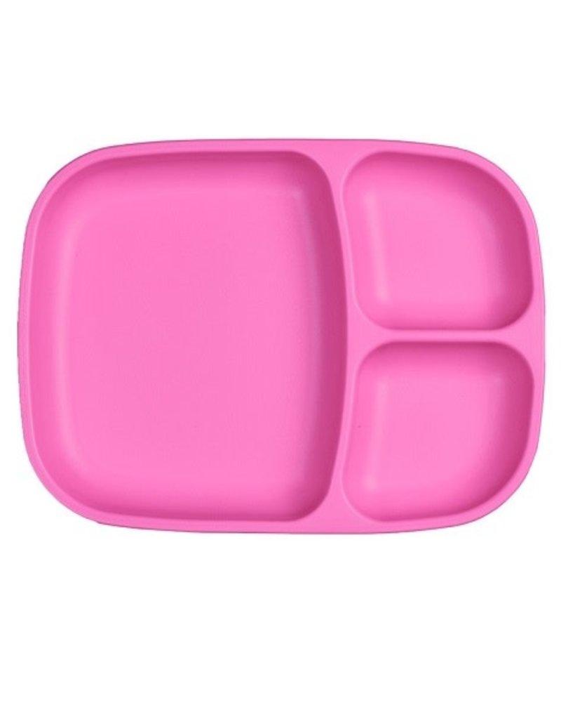 Re play Assiette large à compartiments en plastique recyclé rose