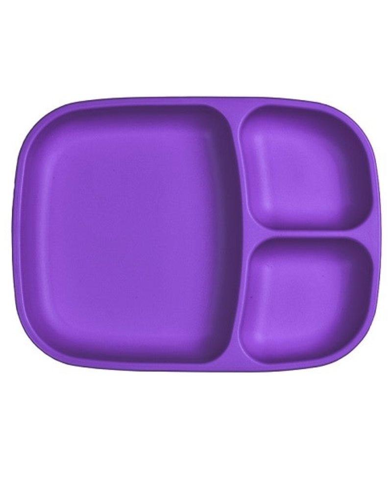 Re play Assiette large à compartiments en plastique recyclé mauve foncé