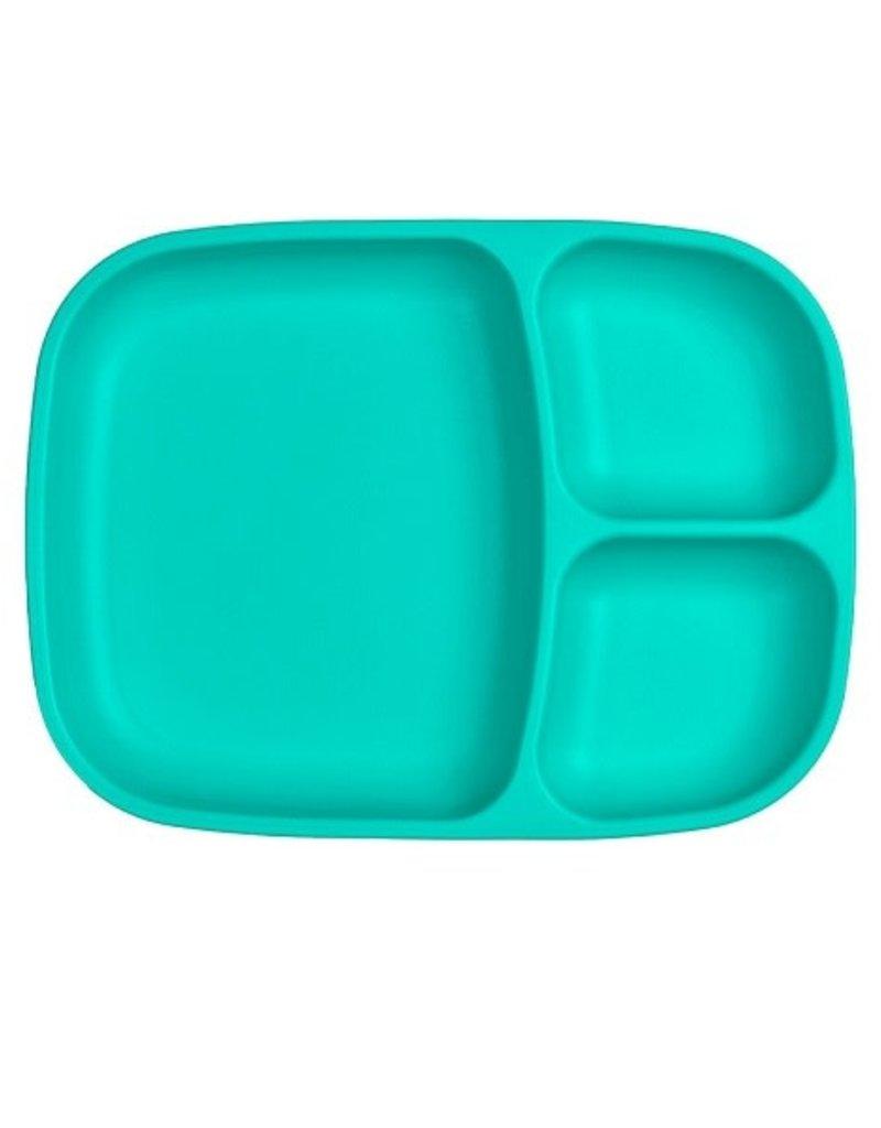 Re play Assiette large à compartiments en plastique recyclé aqua