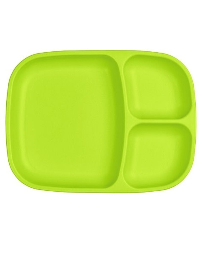 Re play Assiette large à compartiments en plastique recyclé vert lime
