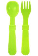 Re play Cuillères et Fourchettes en plastique recyclé vert lime