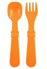 Re play Cuillères et Fourchettes en plastique recyclé orange