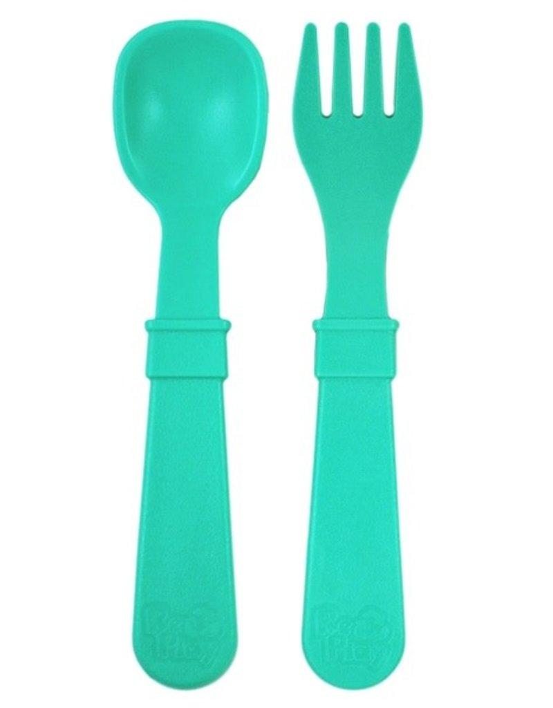 Re play Cuillères et Fourchettes en plastique recyclé aqua