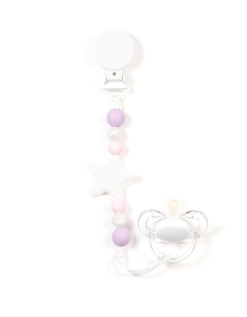 Bulle Bijouterie pour mamans Attache-suce étoile Nano blanc, rose pastel, perle & lavande