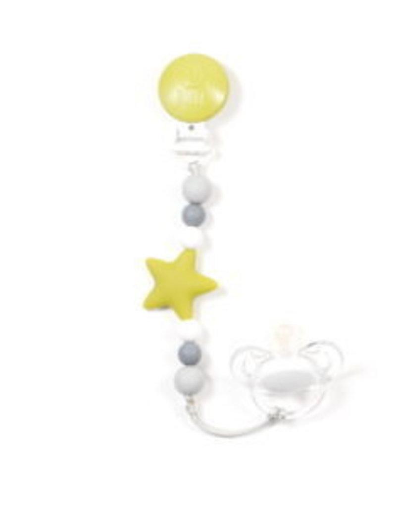 Bulle Bijouterie pour mamans Attache-suce étoile Nano lime, blanc, gris foncé & gris pâle