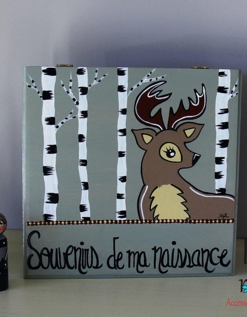 Bouton Rond Rond Coffre Souvenirs de ma naissance Cerf