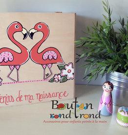 Bouton Rond Rond Coffre Souvenirs de ma naissance flamant rose