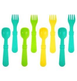 Re play Ensemble 4 cuillères et 4 fourchettes - Aqua