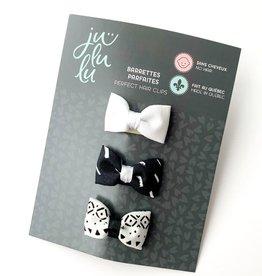 Jululu Bijoux Trio de barrettes noir et blanc