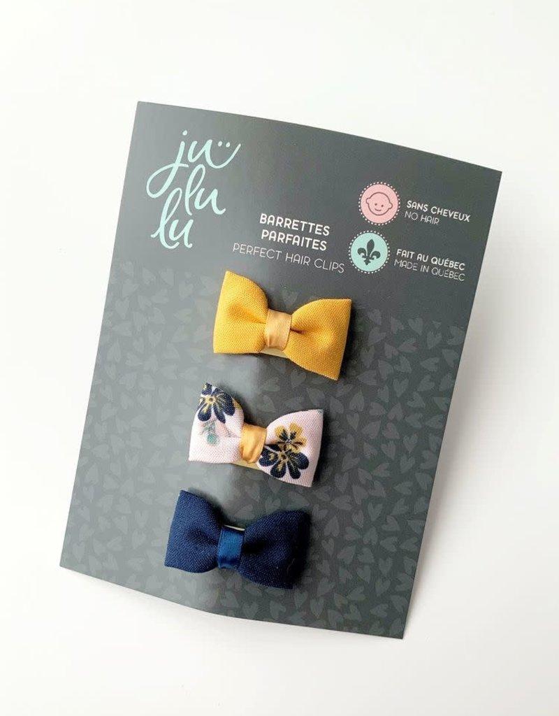 Jululu Bijoux Trio de barrettes fleur marine et dijon