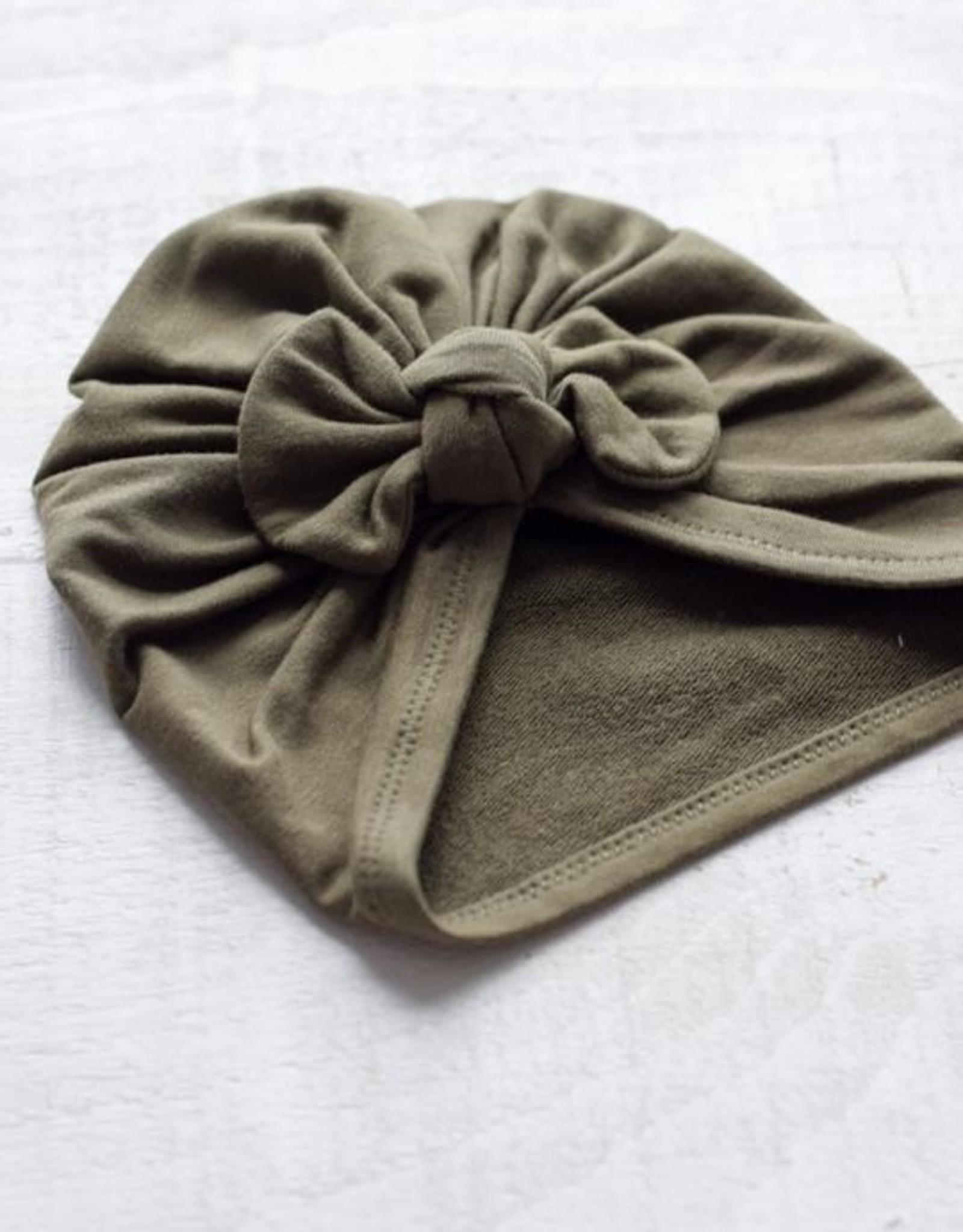 Mini Bretzel Turban premium avec boucle kaki