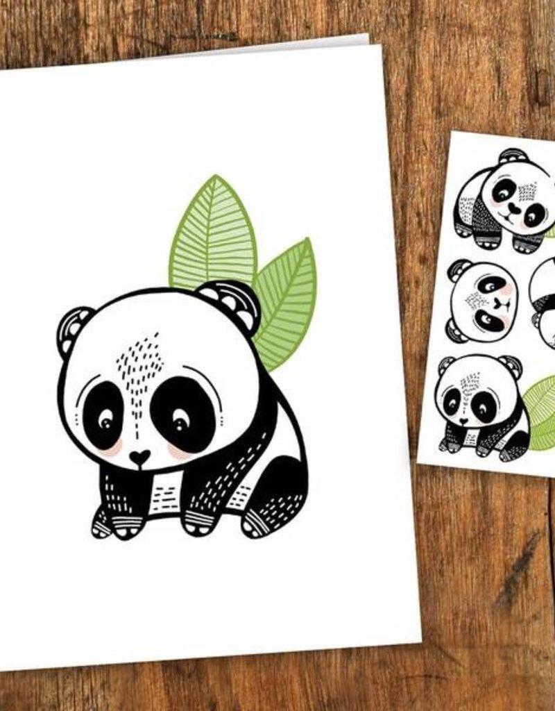 Pico Tatouage Carte de souhait- Les Pandas Sympas