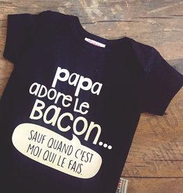 Bedaine love Chandail Papa adore le bacon Noir 2 ans