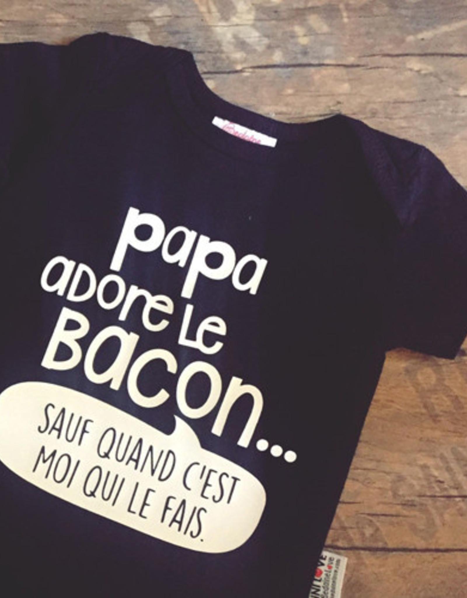 Bedaine love Chandail Papa adore le bacon Noir 3 ans