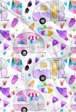 Oops Doudou étiquette en minky camper violet