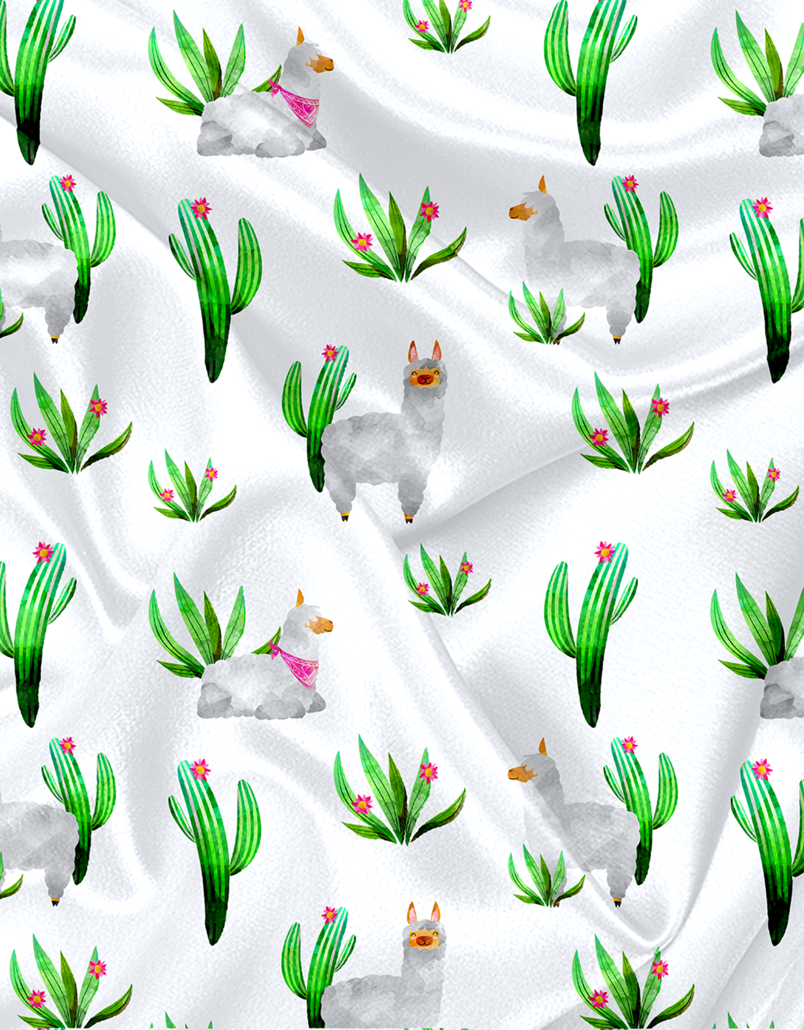 Oops Doudou étiquette en minky lamas cactus
