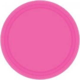 "Bright Pink Paper Plates, 7"" 20ct"