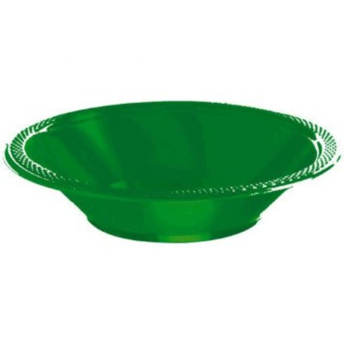Festive Green Plastic Bowl 12oz, 20ct