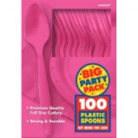 Big Party Pack Bright Pink Plastic Spoons, 100ct