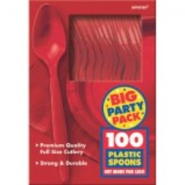 Big Party Pack Apple Red Plastic Spoons, 100ct