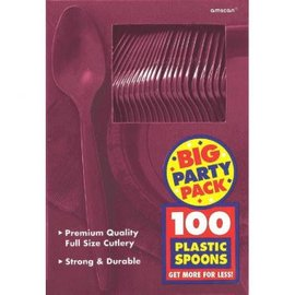 Big Party Pack Berry Plastic Spoons, 100ct