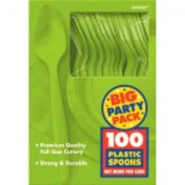 Big Party Pack Kiwi Plastic Spoons, 100ct