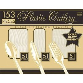 Clear Premium Heavy Weight Window Box Plastic Cutlery 153 count