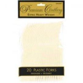 Vanilla Creme Premium Heavy Weight Plastic Forks 20ct