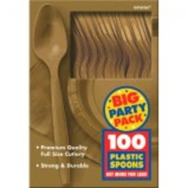 Big Party Pack Gold Plastic Spoons, 100ct