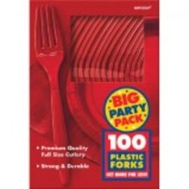 Big Party Pack Apple Red Plastic Forks, 100ct