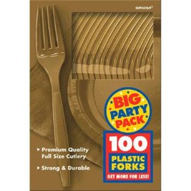 Big Party Pack Gold Plastic Forks, 100ct