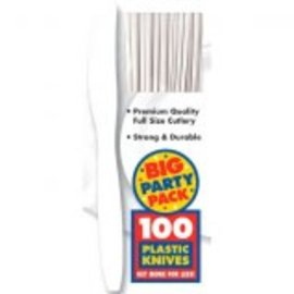 Big Party Pack Frosty White Plastic Knives 100ct