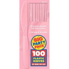 Big Party Pack New Pink Plastic Knives, 100ct