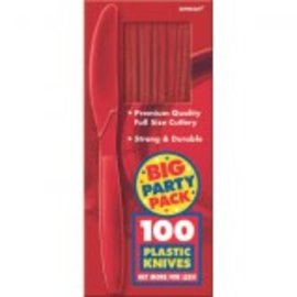 Big Party Pack Apple Red Plastic Knives, 100ct
