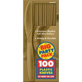 Big Party Pack Gold Plastic Knives, 100ct