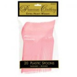 New Pink Premium Heavy Weight Plastic Spoons 20ct