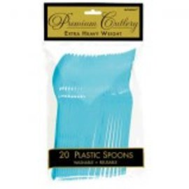 Caribbean Blue Premium Heavy Weight Plastic Spoons 20ct