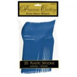 Bright Royal Blue Premium Heavy Weight Plastic Spoons 20ct